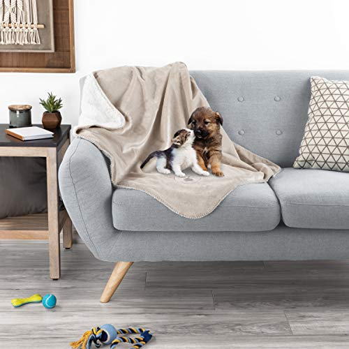PETMAKER Waterproof Pet Blanket 40inx30in Plush Lap Throw Protects Couch, Chairs, Car, Bed from Spills, Stains, or Pet Fur-Machine Washable (Tan)
